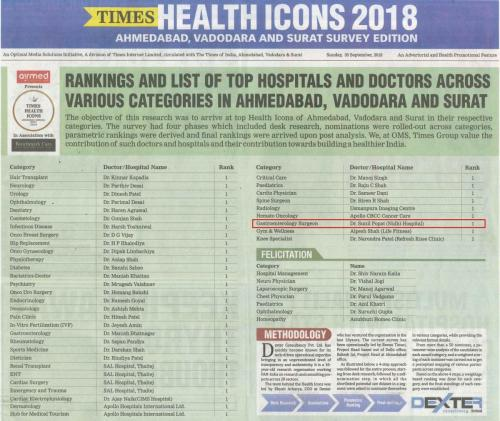 The Times of India (Health Icons 2018) Dr Sunil Popat 30.09.18 Pg 01